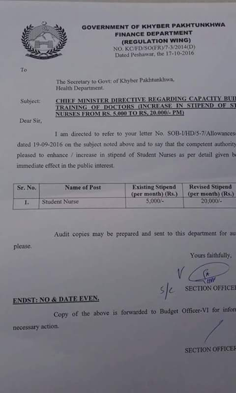 Notification of Stipend KPK Nurses Students