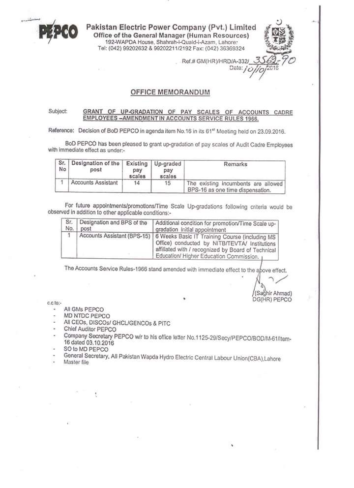 Notification of Upgradation Accounts Cadre Employees by PEPCO