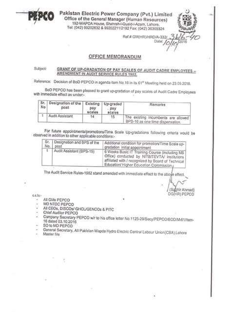 Notification of Upgradation Audit Cadre Employees by PEPCO