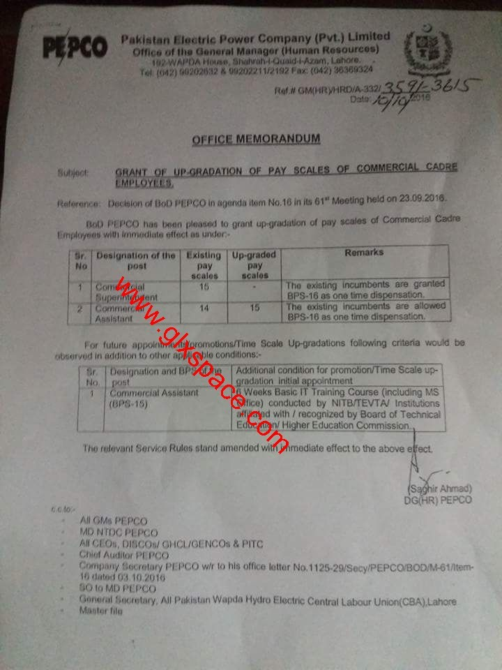 Notification of Upgradation Commercial Superintendent & Commercial Assistant by PEPCO