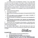 Notification of Adhoc Relief Allowance 2010 to Judiciary (LHC Establishment)