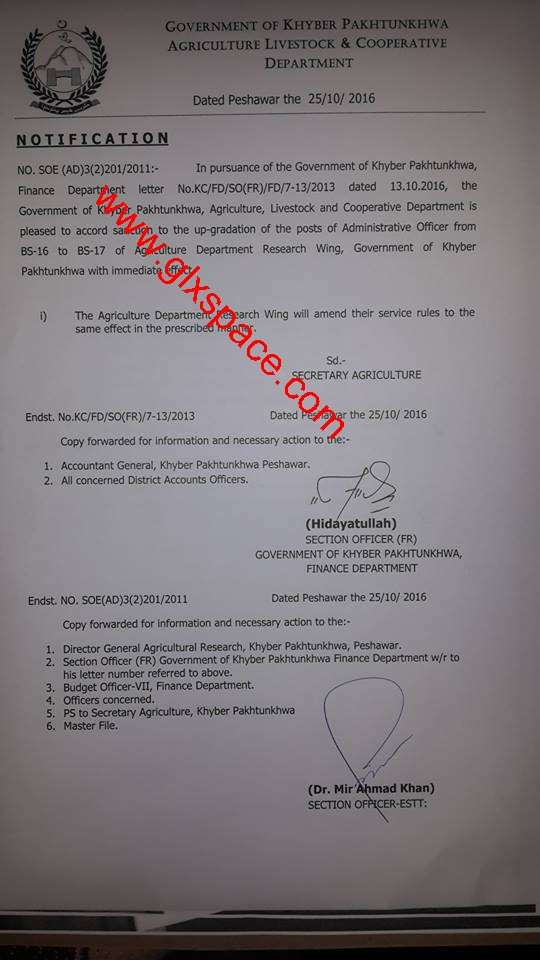Upgradation Administration Officers of Agriculture Research KPK
