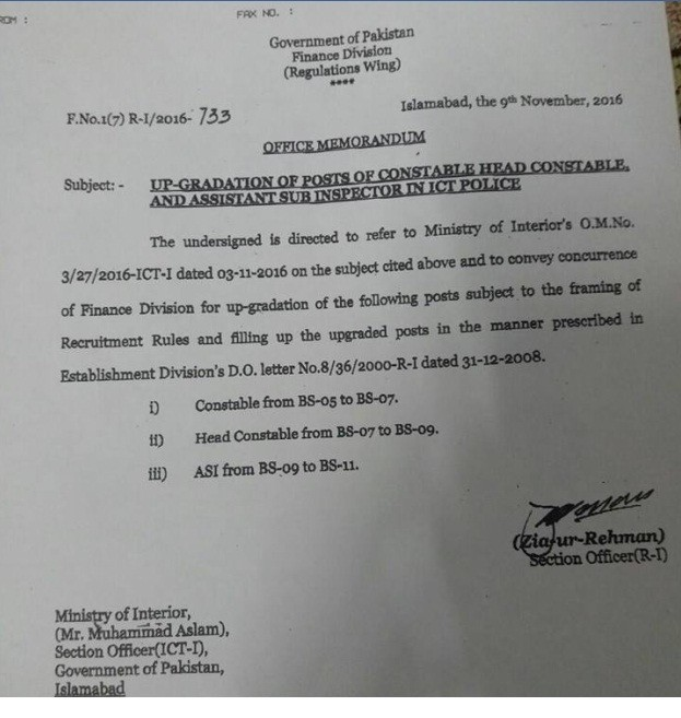 Notification of Upgradation Islamabad Police Scales