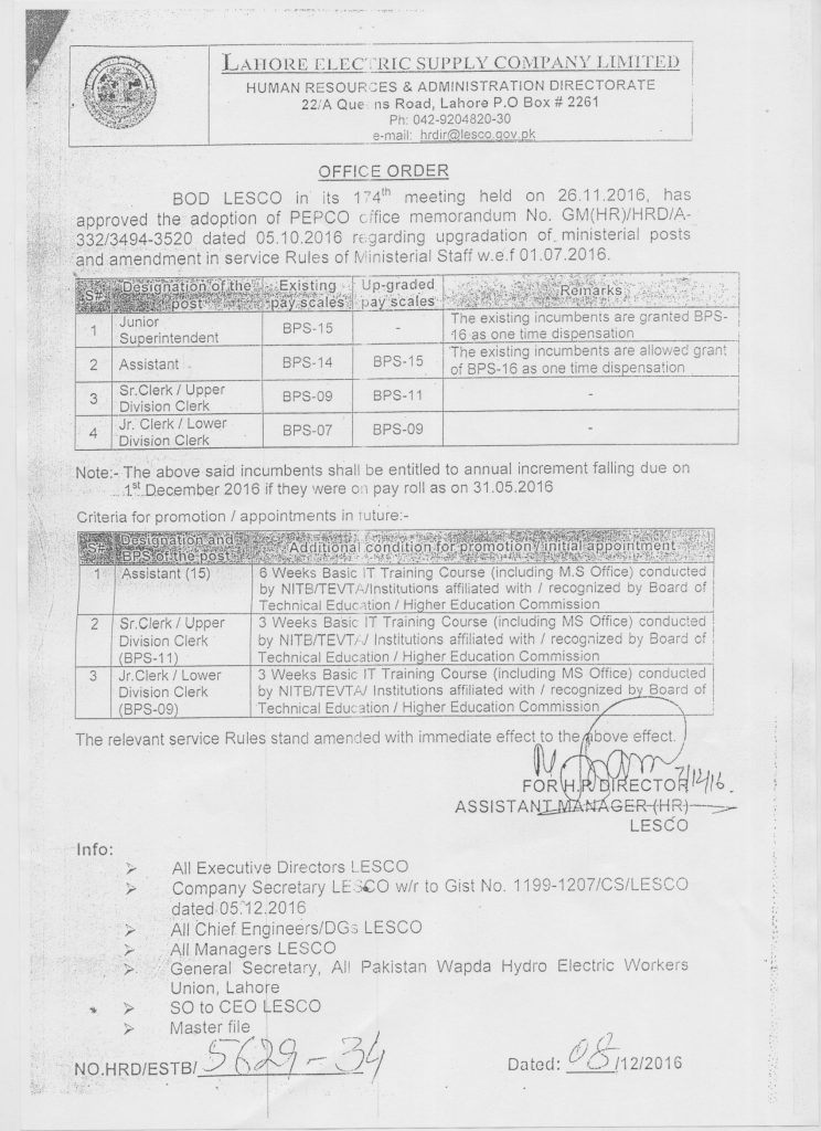 Notification of Upgradation of LESCO Employees