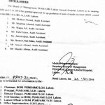 Notification of Upgradation of the Post of Audit Assistant Lahore General Hospital