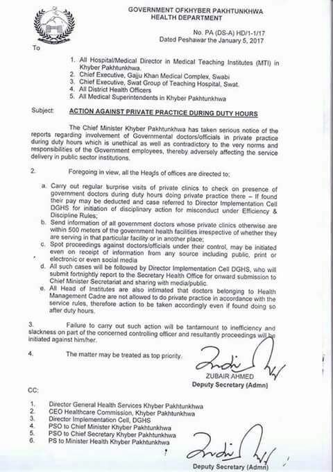 Notification of Action Against Private Practice During Duty Hours