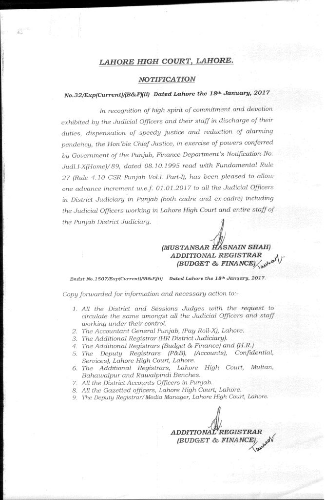 Notification of One Advance Increment to Judicial Staff