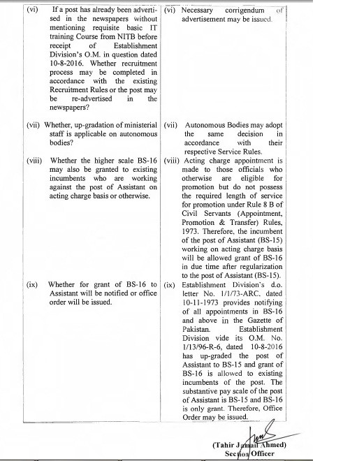 Clarification Ministerial Staff Upgradation Federal