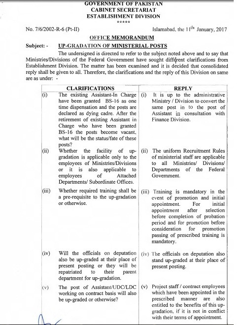 Notification of Clarification Ministerial Staff Upgradation by Establishment Division