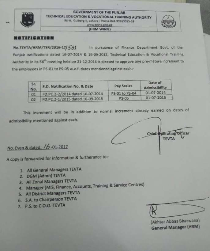 Notification of Premature Increment TEVTA Employees BPS-01 to BPS-05