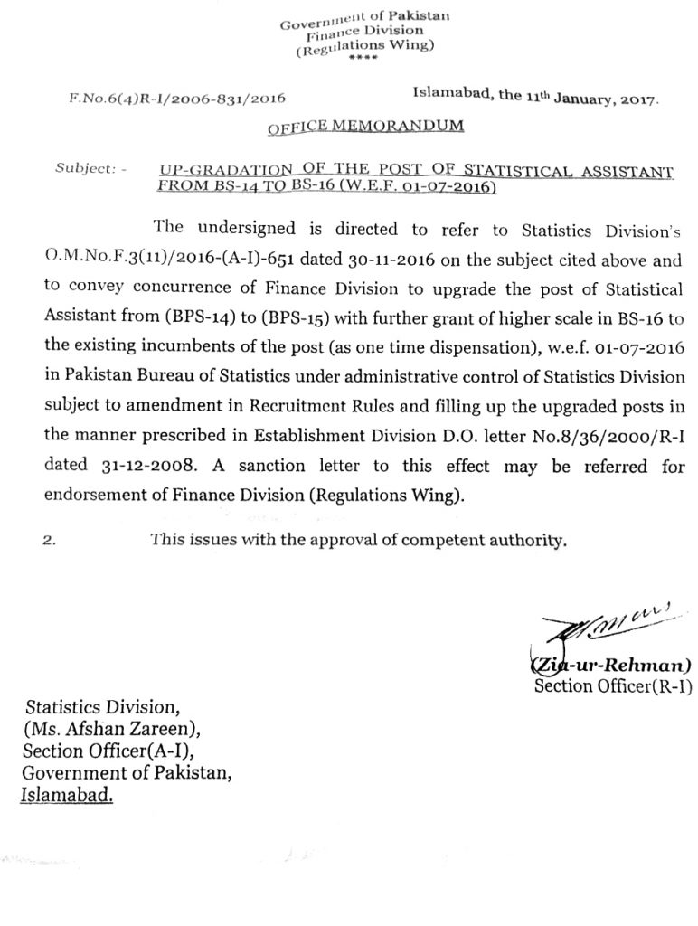 Statistical Assistant Upgradation