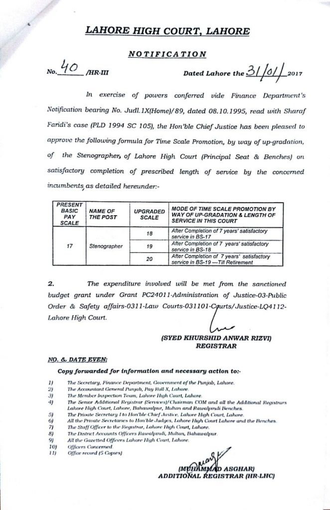 Grant of Time Scale Upgraded Scale BPS-20 to Stenographers by LHC