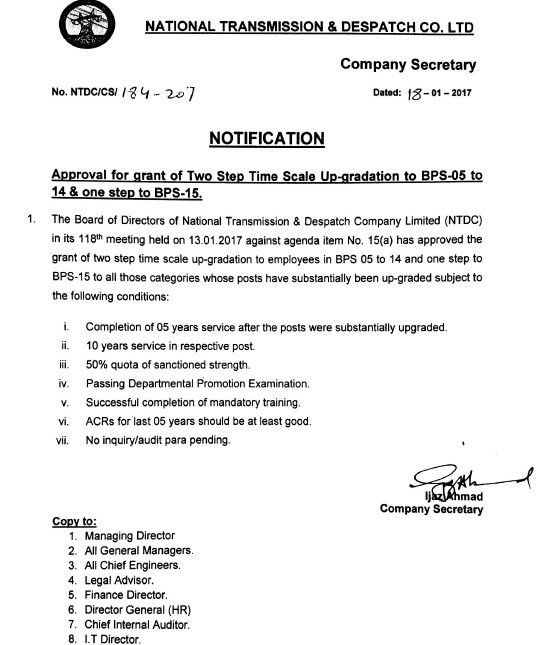 Upgradation NTDC Employees