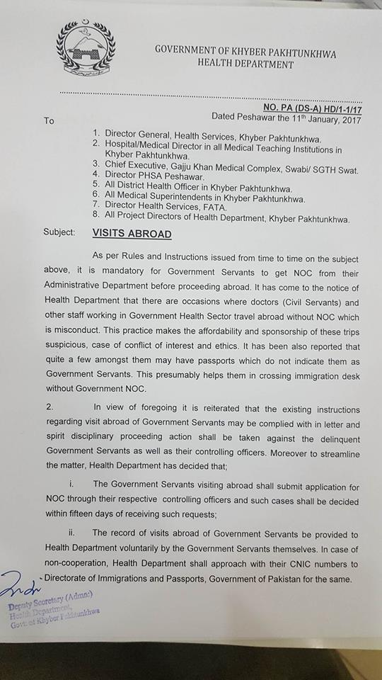 Government Employees Visit Abroad Without NOC-KPK Health Department