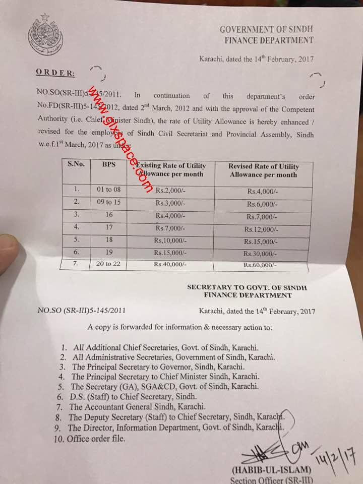 Notification Enhanced Utility Allowance Sindh Govt Employees