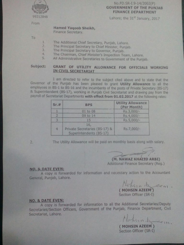 Notification of Grant of Utility Allowance for Officials Working in Civil Secretariat