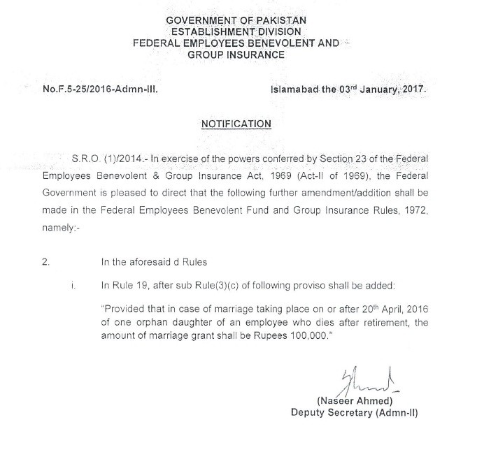 Notification of Amendment in Marriage Grant Federal Govt Employees