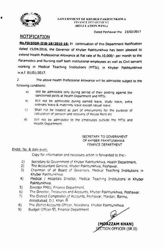 Revised Notification Health Professional Allowance KPK