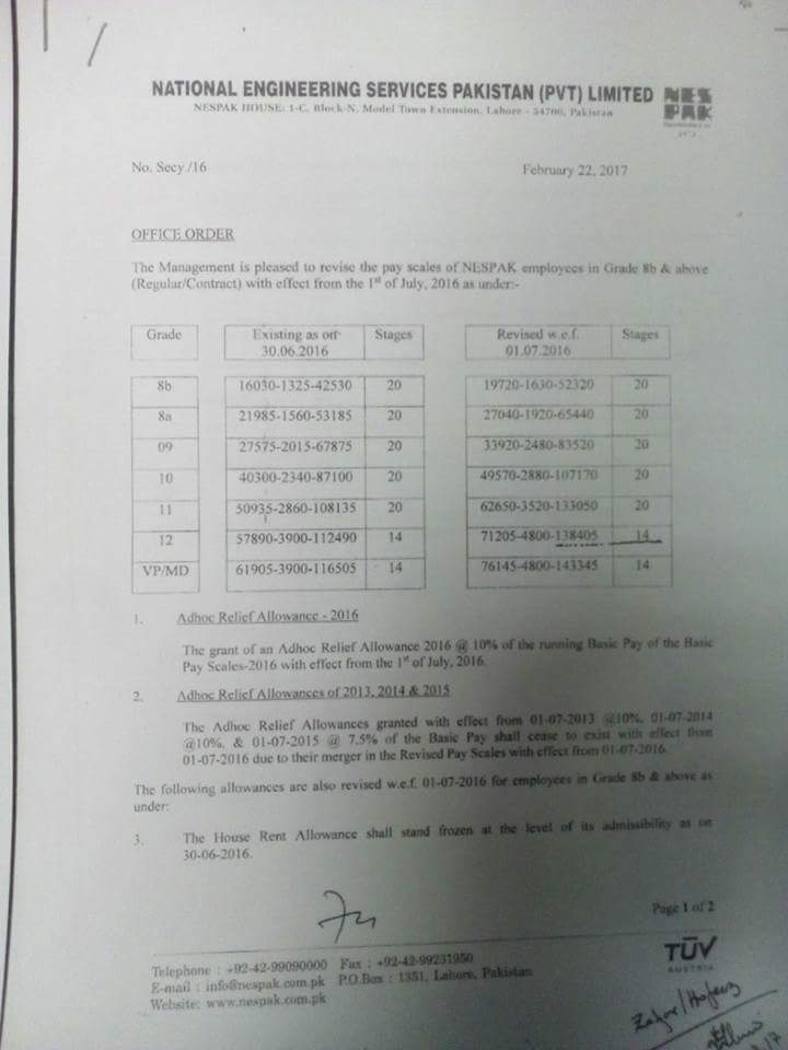Notification of Revised Pay Scale 2016-17 NESPAK