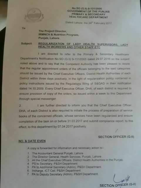 Notification Regarding Regularization Lady Health Workers Punjab