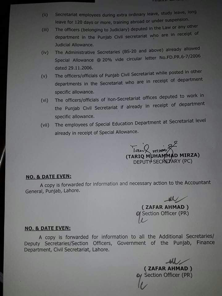 Notification Of Special Allowance 50 To The Employees Of