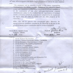 Notification of Simultaneously Double Degrees Exams by University of the Punjab