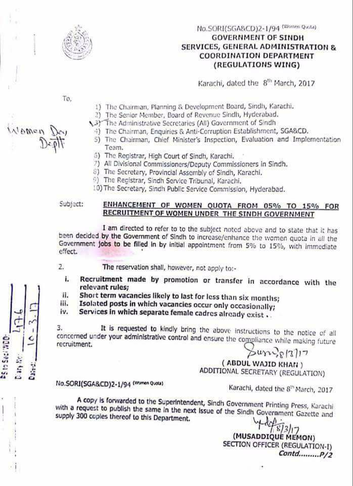 Enhancement Women Quota 5% to 15% for Recruitment under the Sindh Government