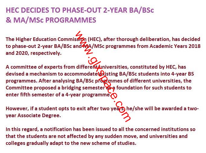 Notification of Phase out Two years BA/BSc & MA/MSc Programmes by HEC