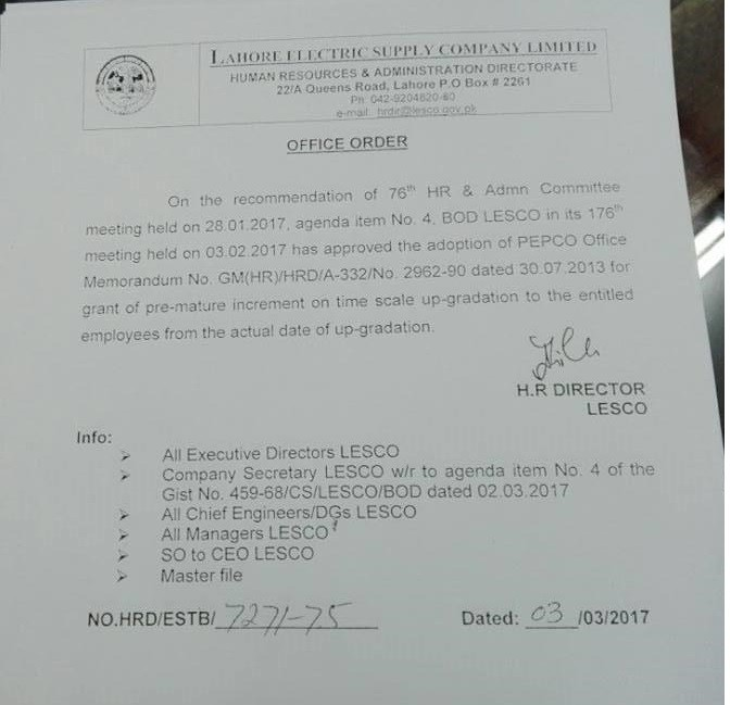Notification of Premature Increment Tile Scale Upgradation LESCO Employees