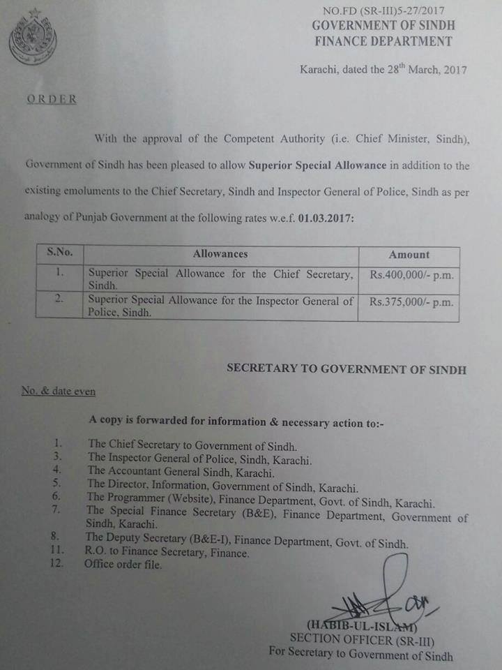 Notification of Superior Special Allowance Sindh