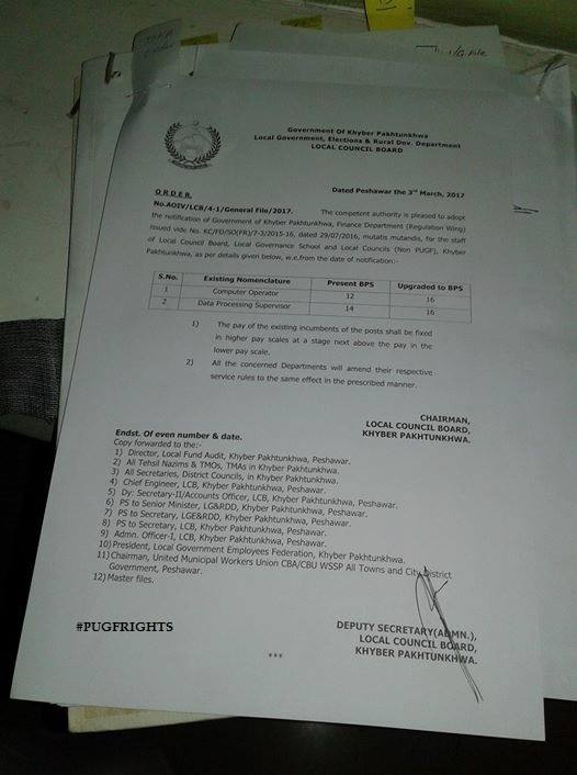 Notification of Upgradation Computer Operators Local Govt KPK