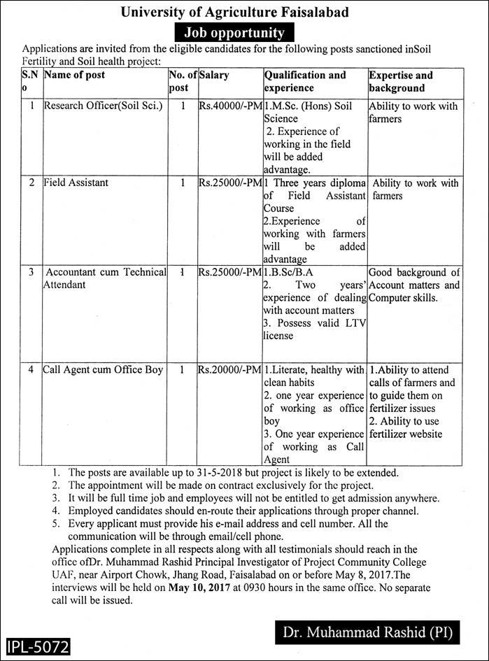 Job Opportunities in University of Agriculture Faisalabad