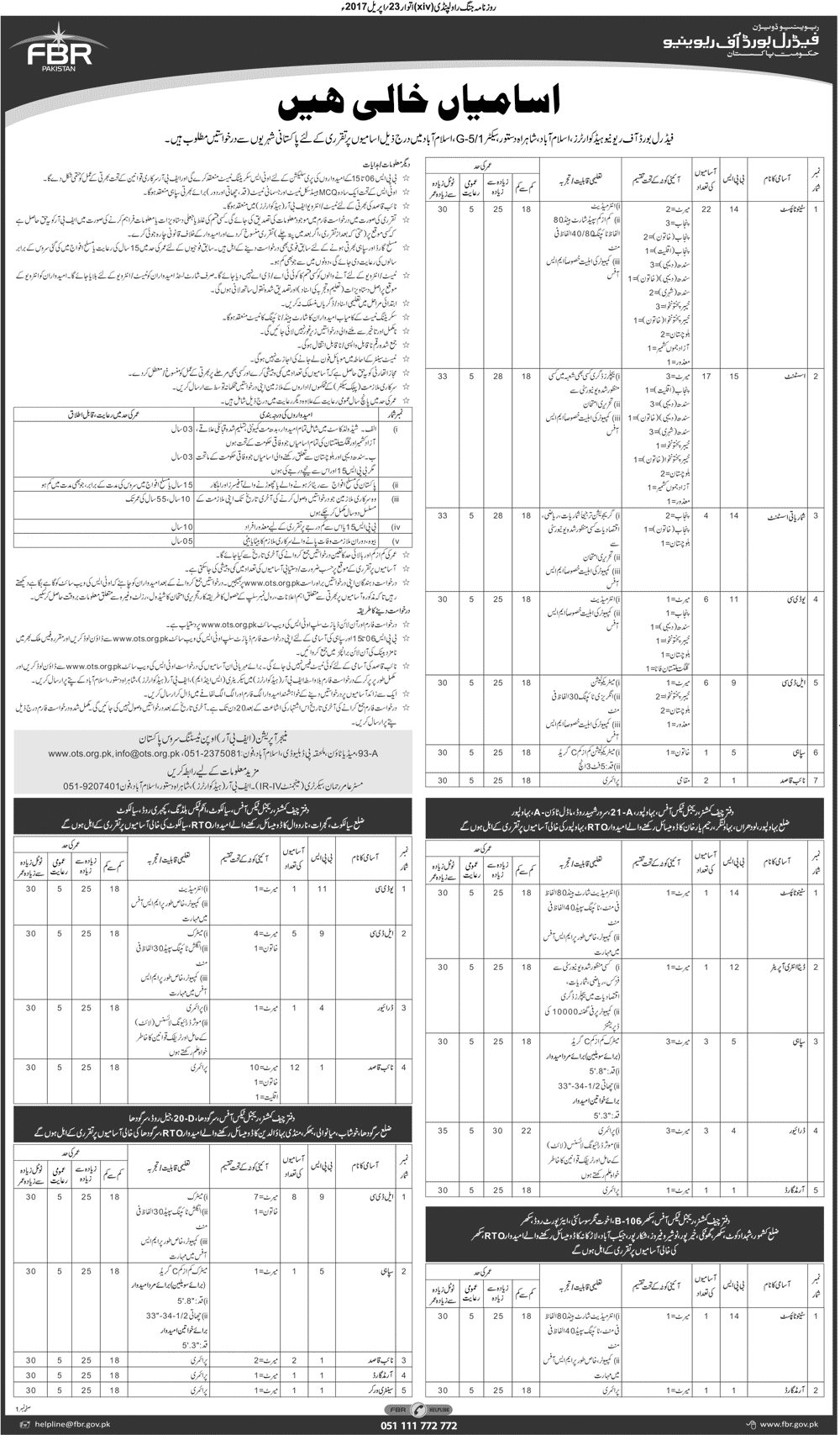 Job Vacancies in FBR 2017