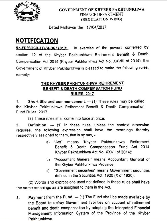 Notification of Khyber Pakhtunkhwa Retirement Benefit & Death Compensation Fund Rules 2017