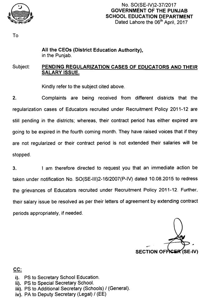 Pending Regulation Cases of Educators and Their Salary Issue