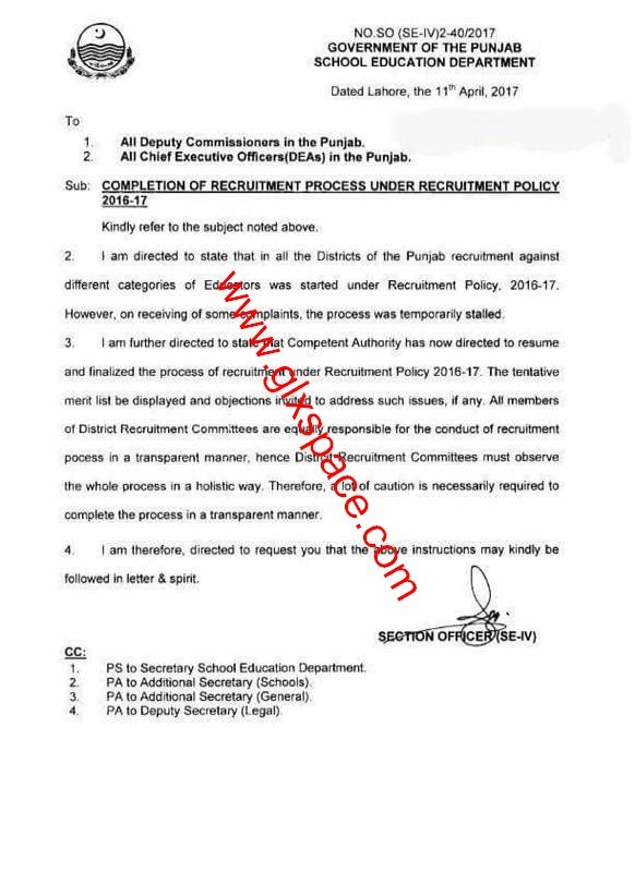 Resume and Finalize the Process of Recruitment of Educators under Recruitment Policy 2016-17