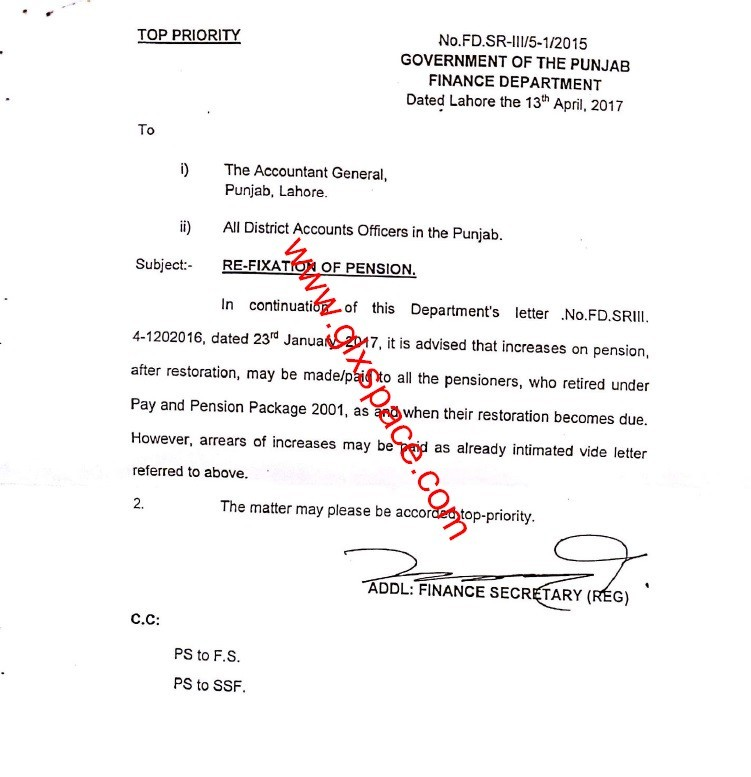 Notification of Re-Fixation of Pension Punjab Govt Pensioners