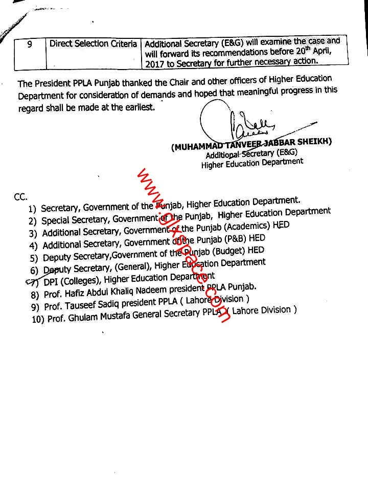 Time scale Upgradation & Pay Protection College Teachers punjab