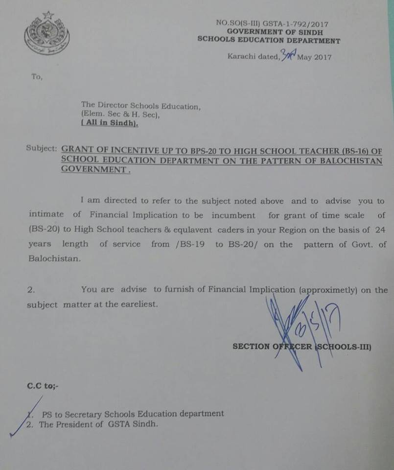 Grant of Incentive upto BPS-20 High School Teacher School of Education Department Sindh