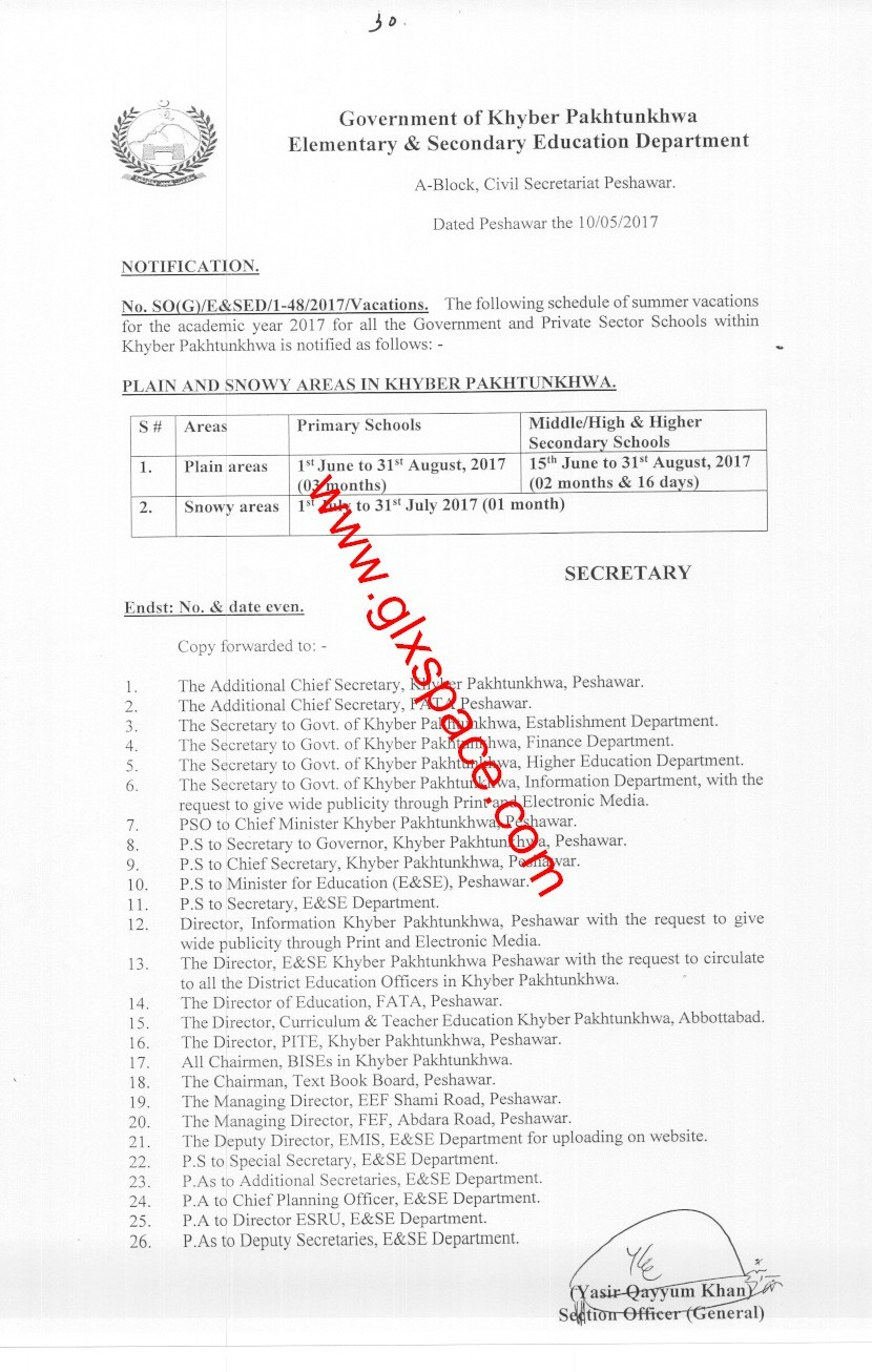 Notification of Summer Vacations 2017