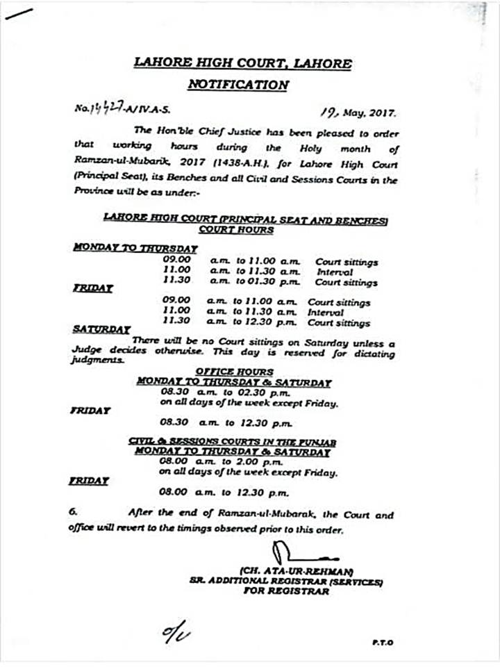 Office Timings Courts Punjab
