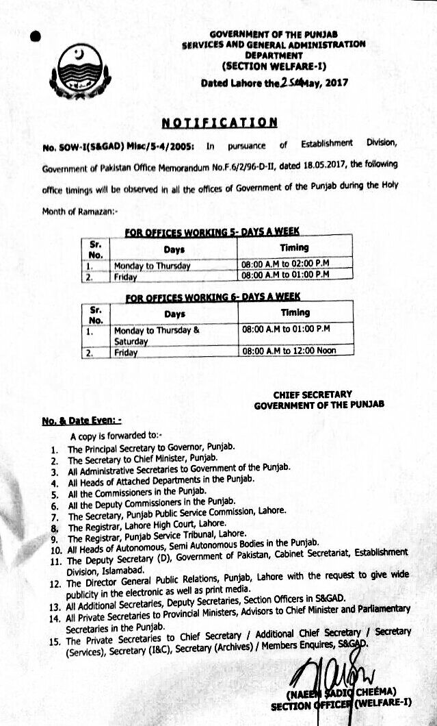 Office Timings Punjab Govt