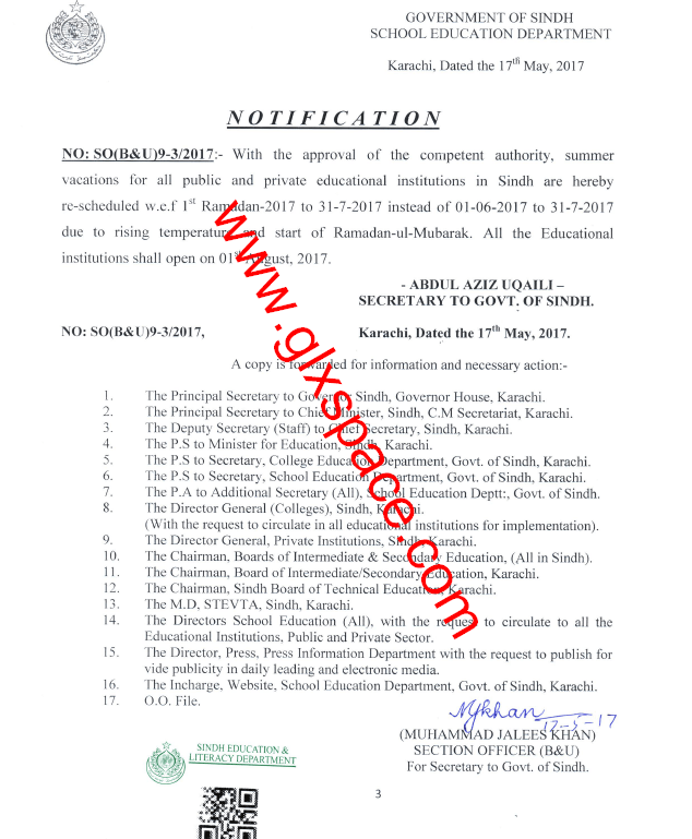Notification of Summer Vacation 2017 KPK & Sindh Schools