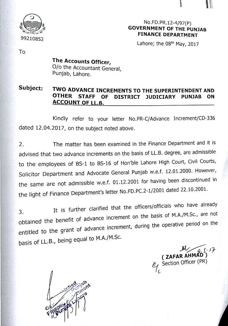 Notification of Two Advance Increments on the Basis of LLB Degree