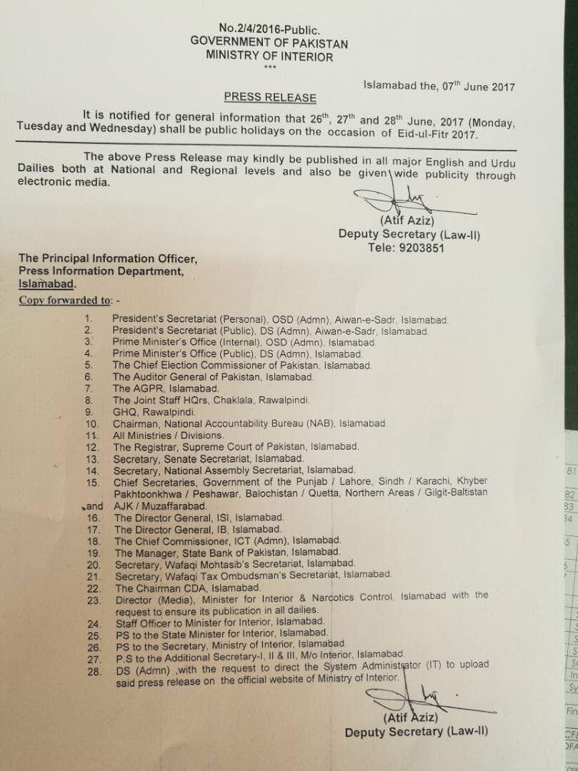 Notification of Eid-ul-Fitr Holidays 2017