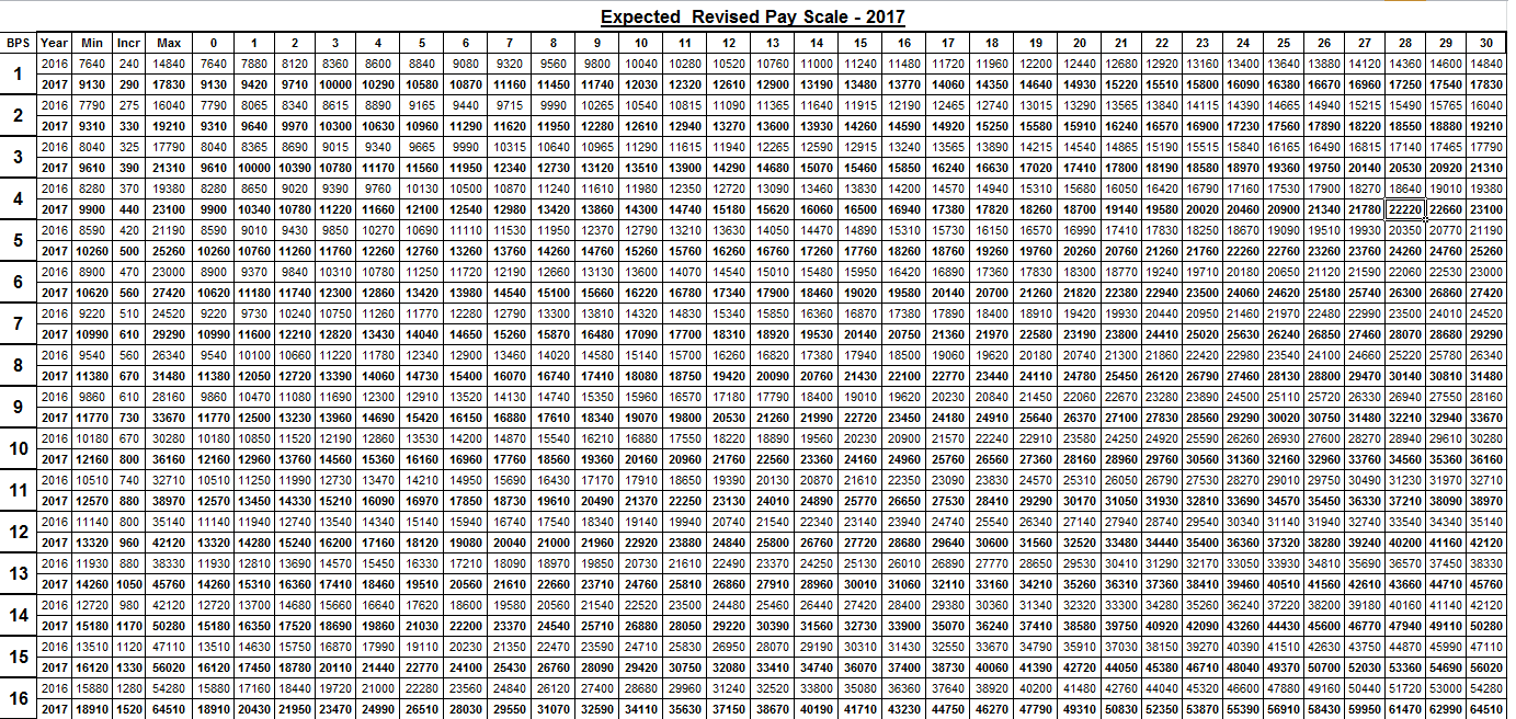Much Expected Pay Scale Chart 2017