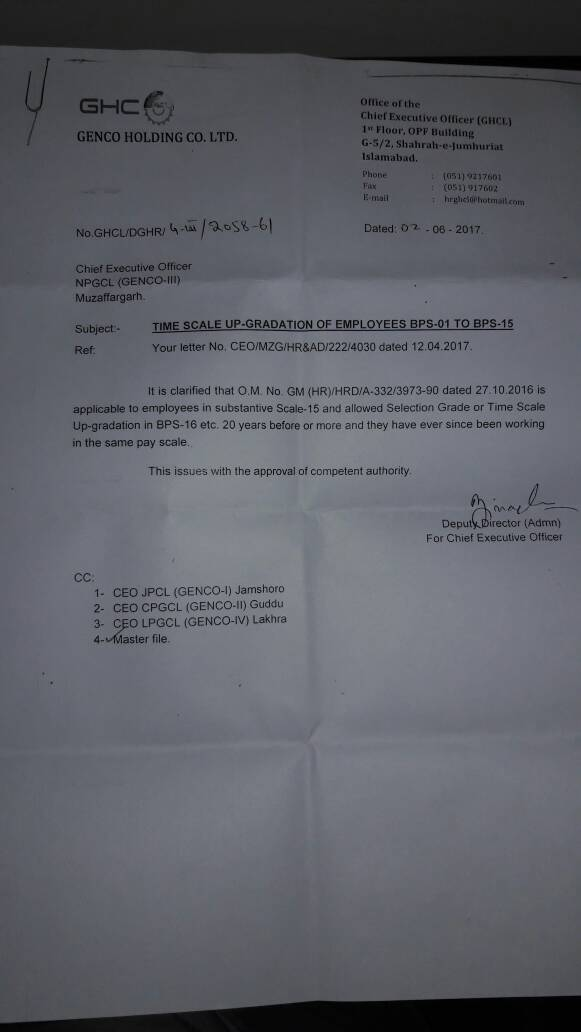 Time Scale Upgradation GENCO Employees of BPS-01 to BPS-15