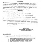 Notification of Amendment Travelling Allowance Rule Punjab