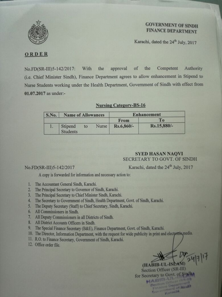 Notification of Enhancement Stipend Nurse Students Sindh Government