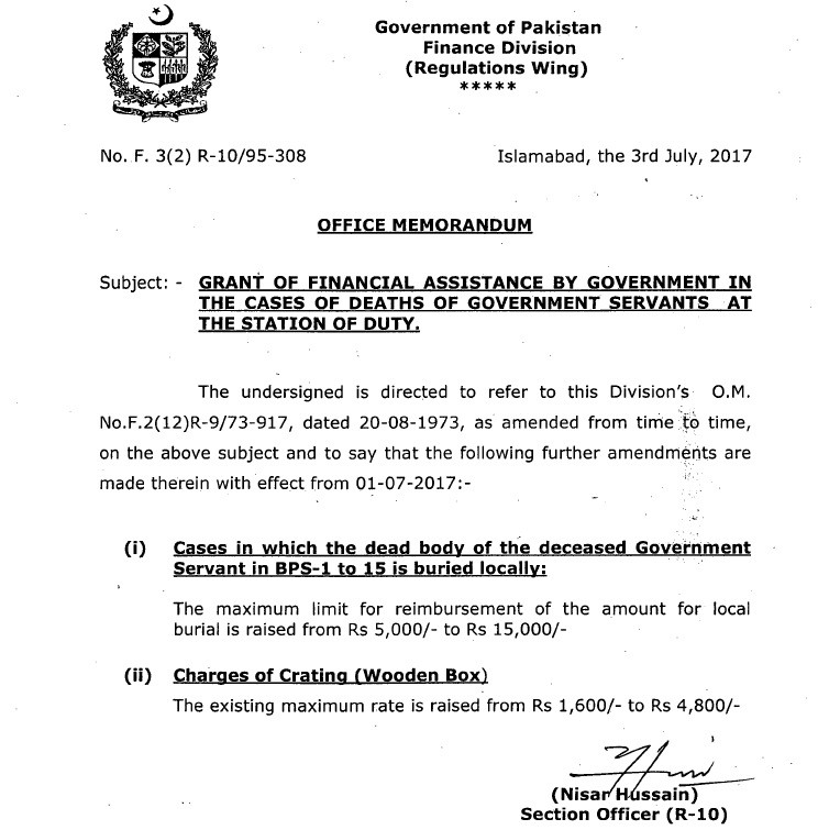 Grant of Financial Assistance